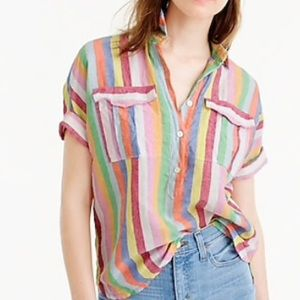 J. crew Short Sleeve Pop Over Shirt Candy Stripe